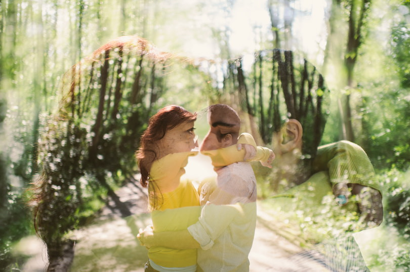 Double exposure engagement photographers vancouver