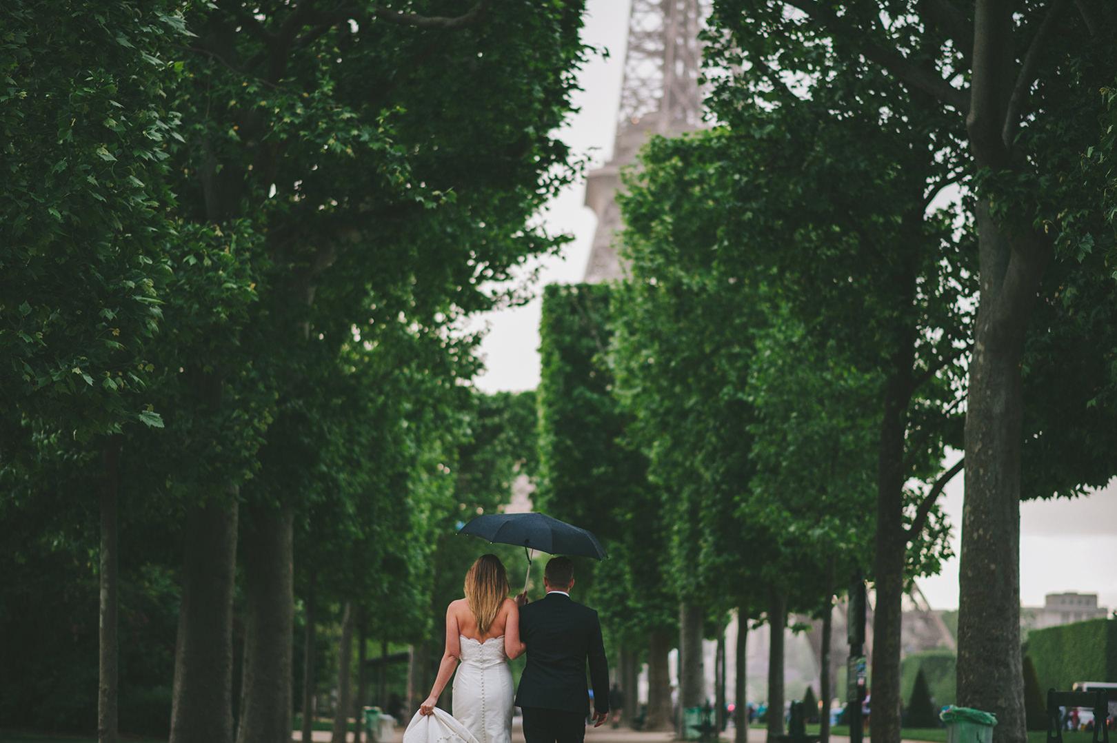 rainy wedding photography Paris France