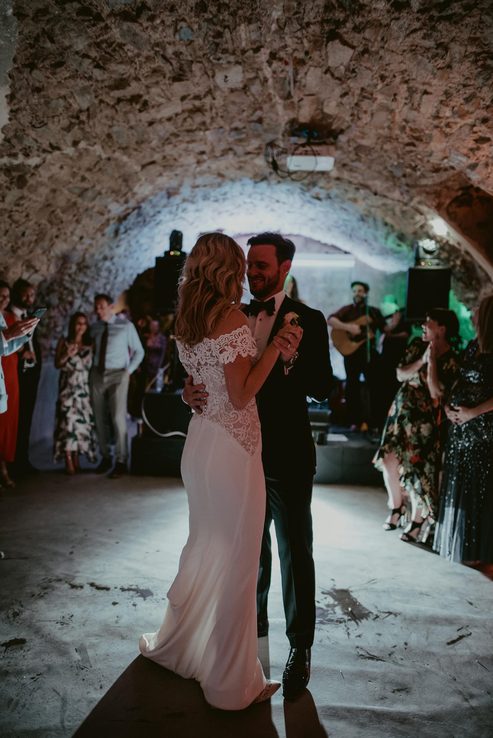 Celebrating wedding at Castell d'Emporda in Spain