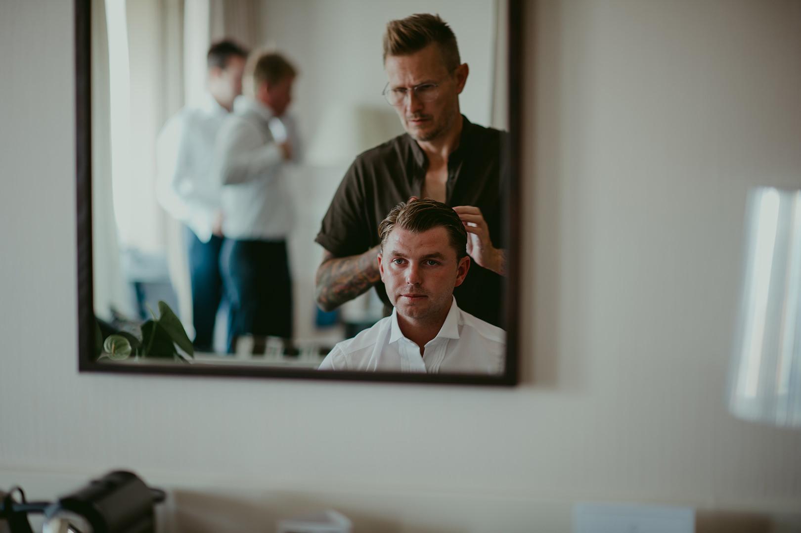 Groom wedding preparation Cannes
