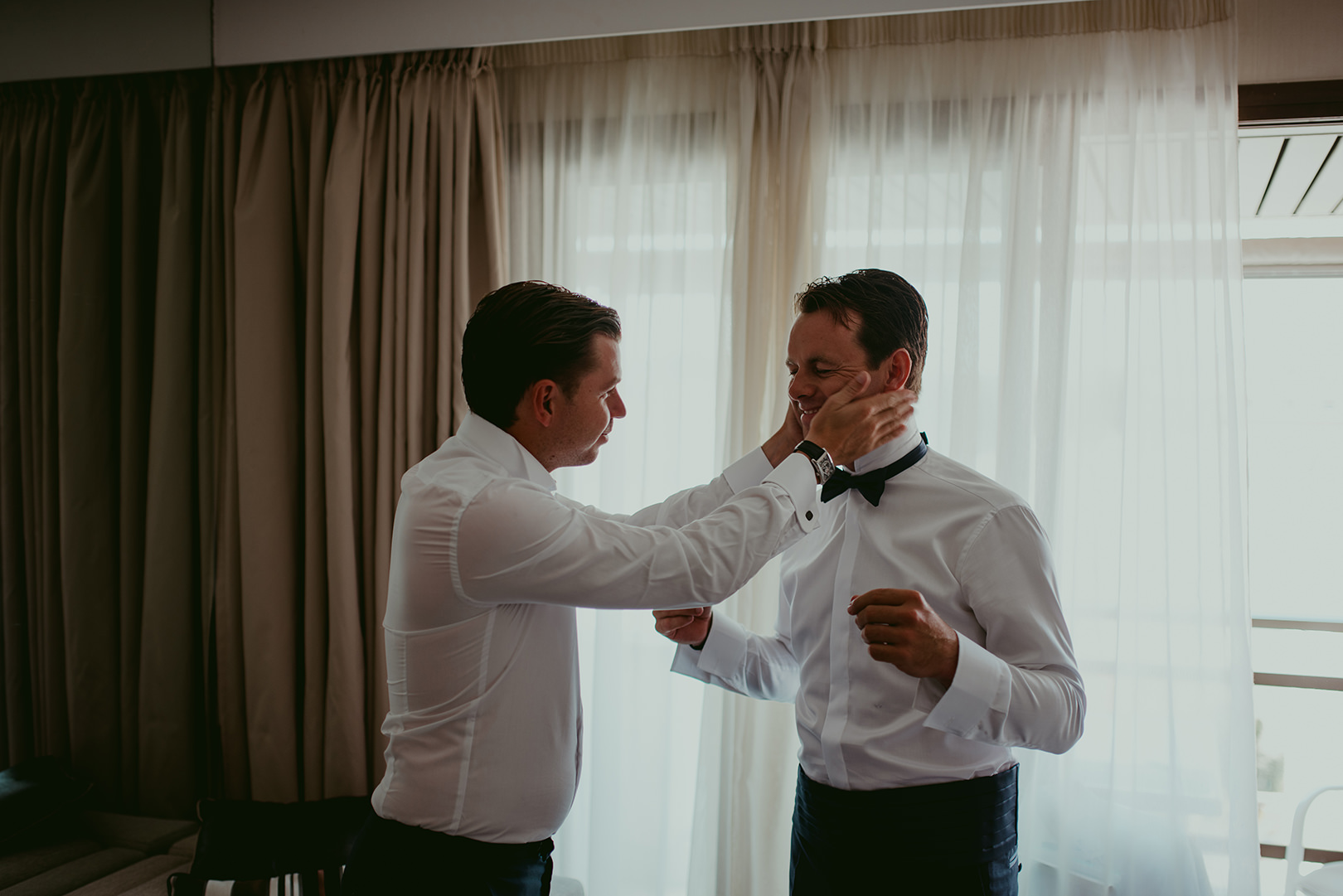 Groom and best man before the wedding in South of France