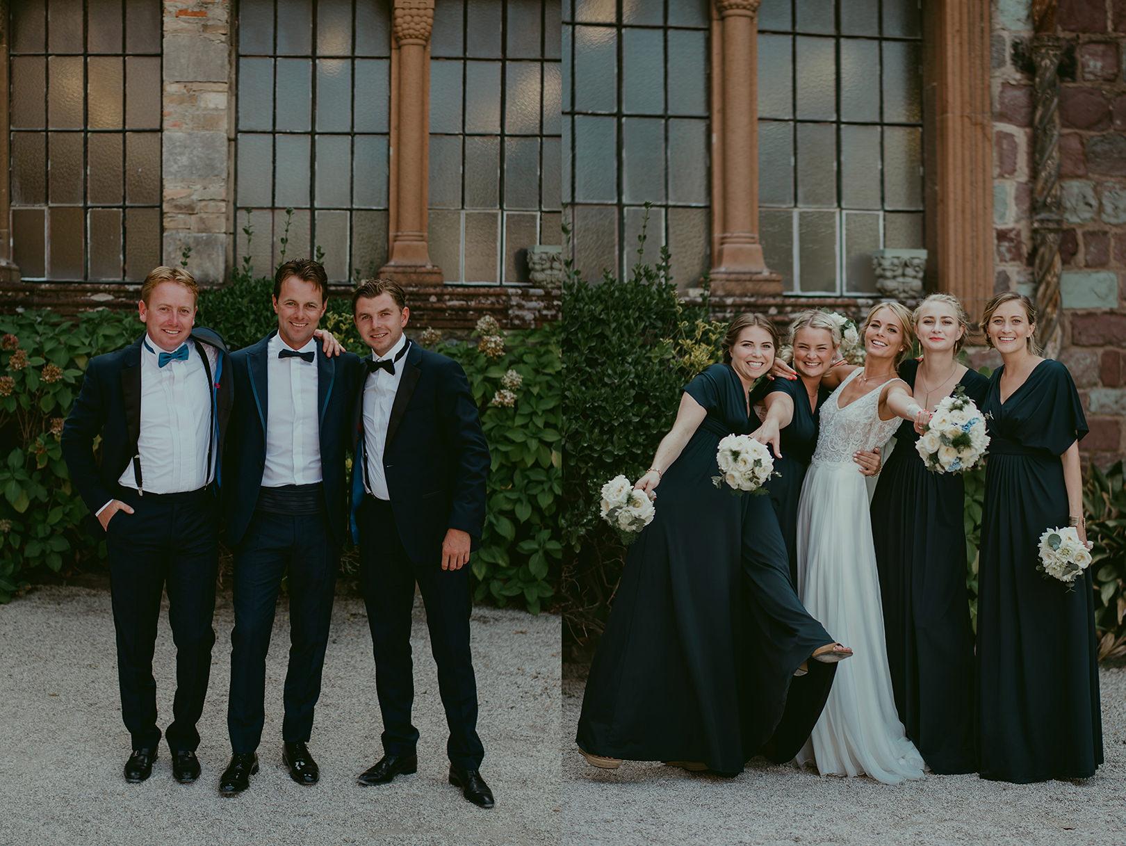 Wedding party photograph at Chateau de la Napoule in Cannes