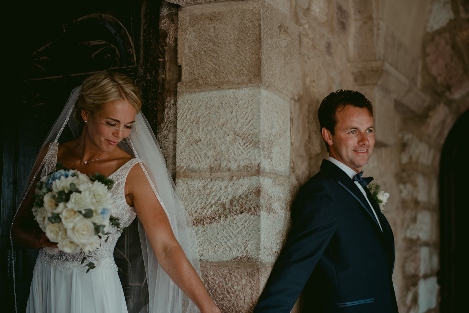 Bride and groom meeting at Chateau de la Napoule in Cannes
