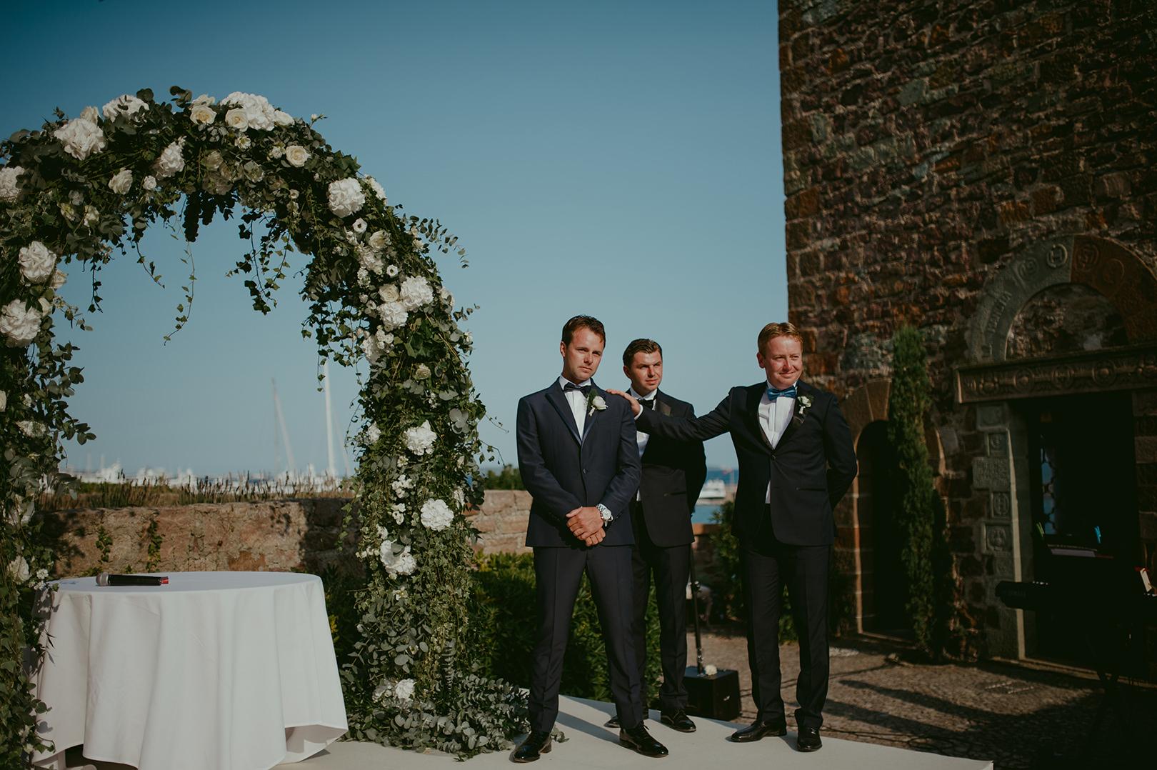 Just before the ceremony at Chateau de la Napoule