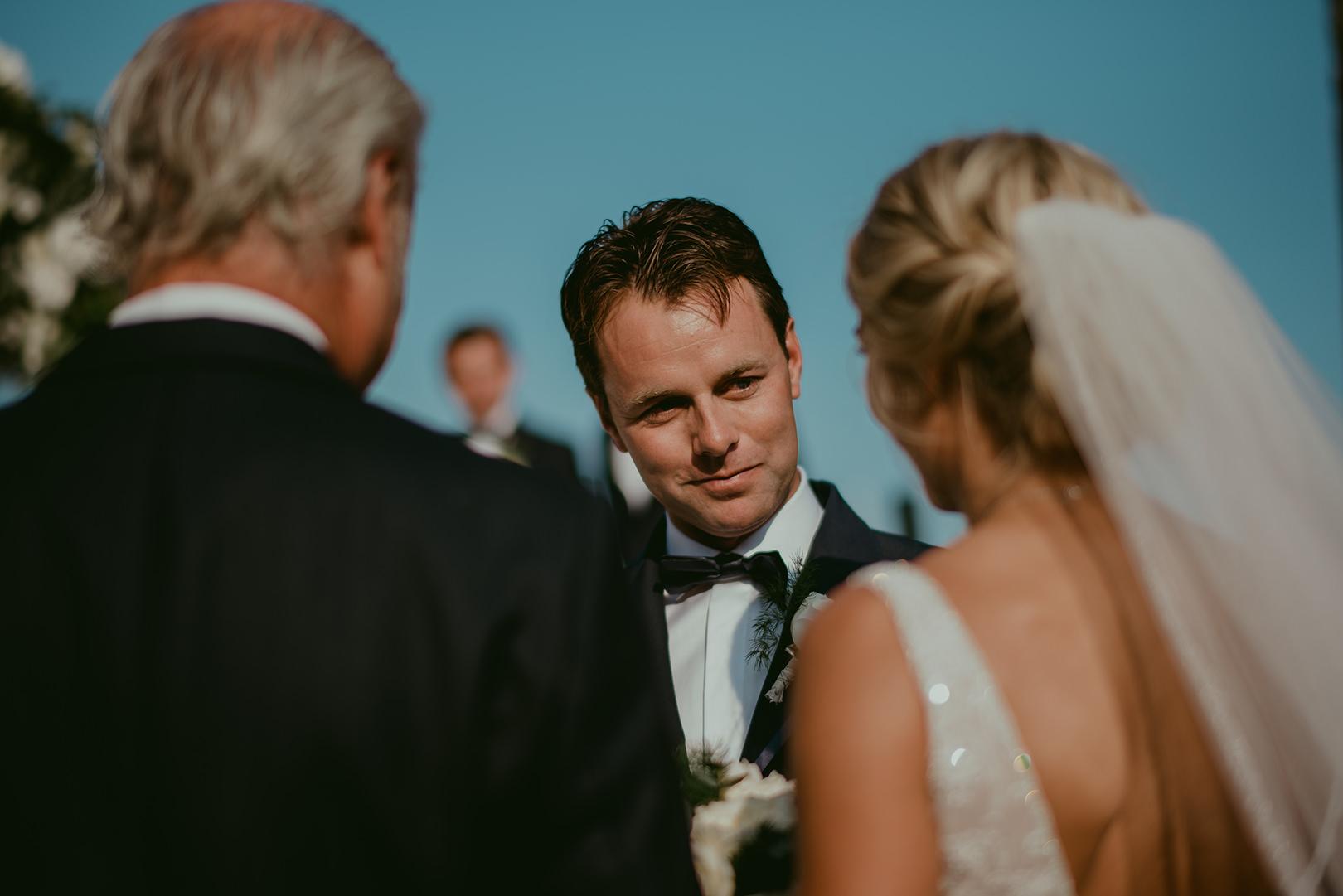 Bride meeting groom at Chateau de la Napoule wedding ceremony
