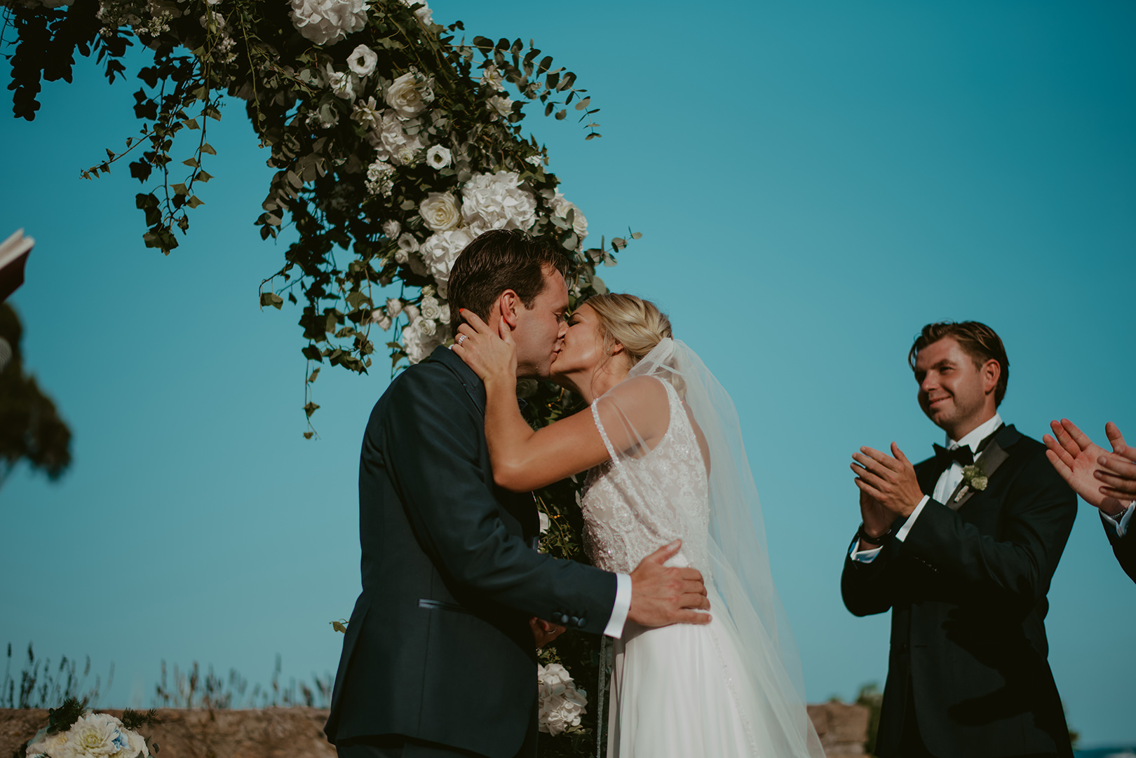 First kiss at wedding in South of France
