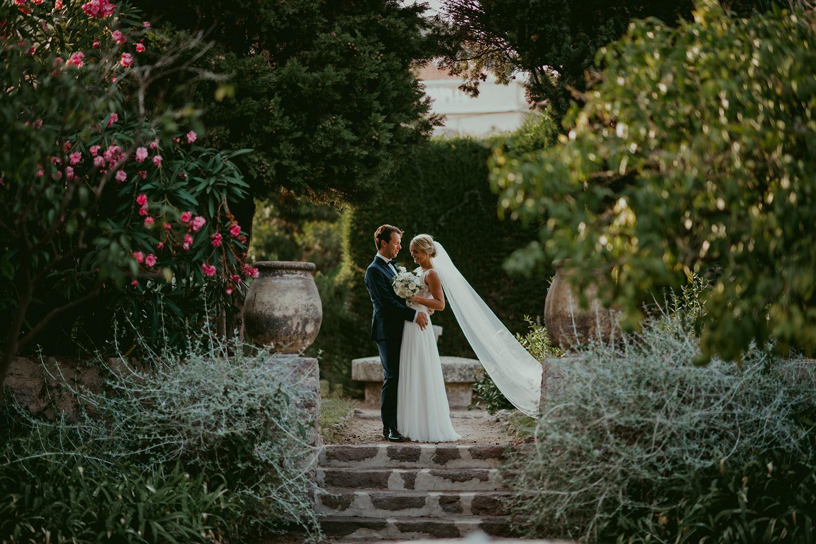 Beautiful wedding photo in Chateau de la Napoule