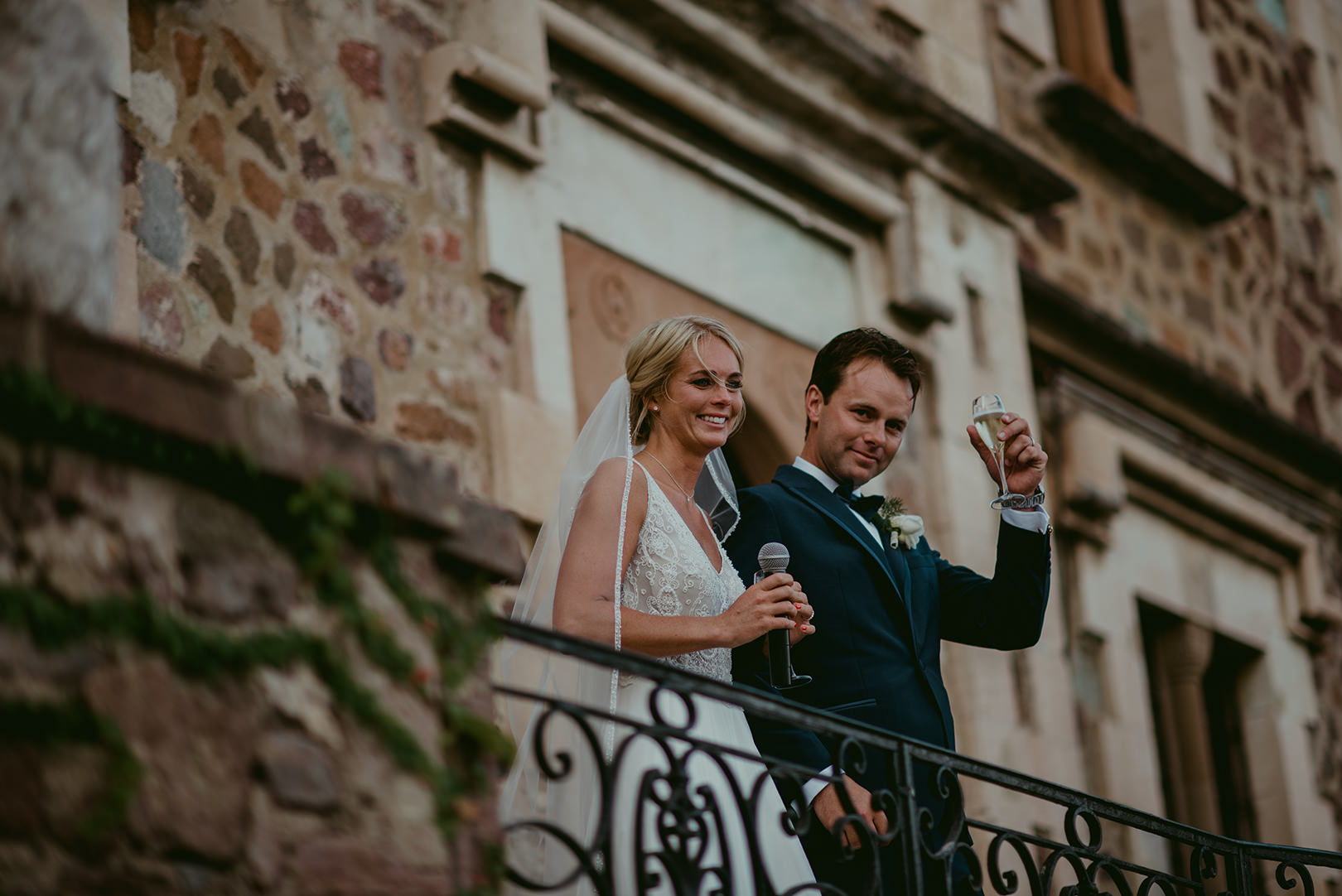 Bride and groom together at Chateau de la Napoule France