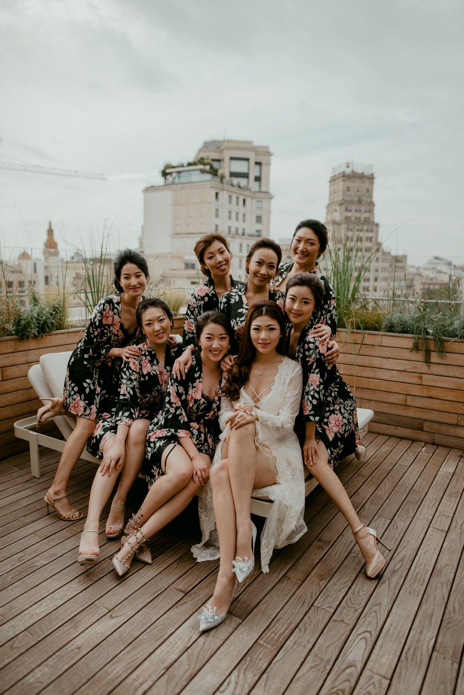 stylish wedding party in Barcelona Spain