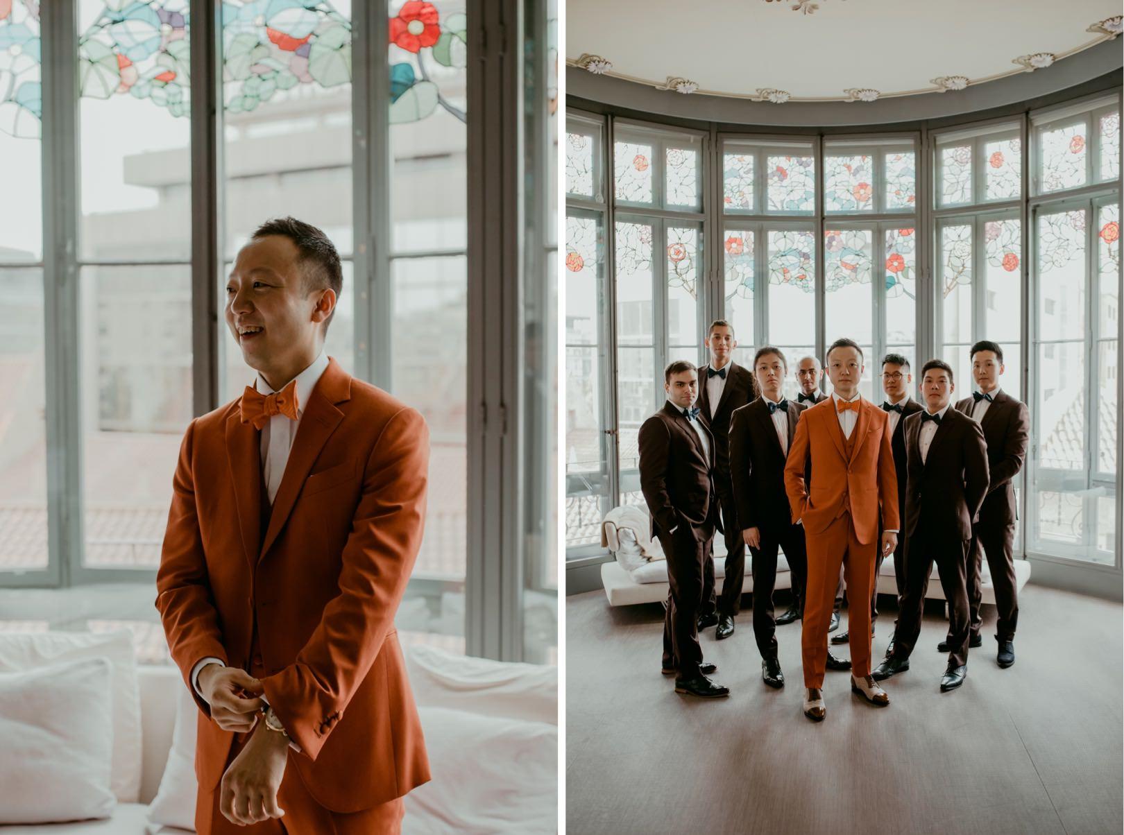 Unique wedding attire at incredible Barcelona Wedding