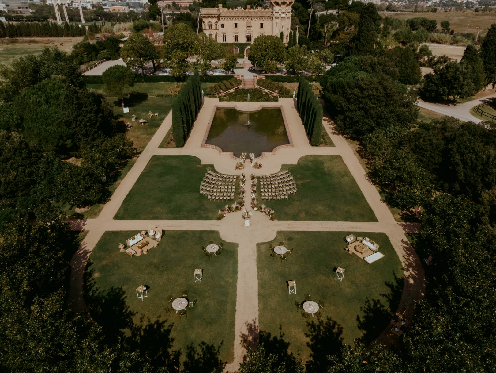 Incredible aerial wedding photography in Barcelona