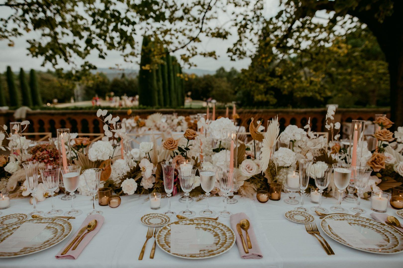 Beautiful luxury wedding dinner in Barcelona