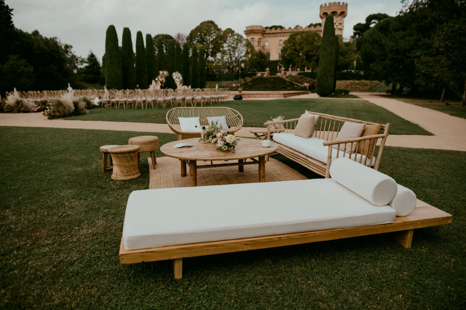 Wedding decor at Castell de Sant Marcall Spain