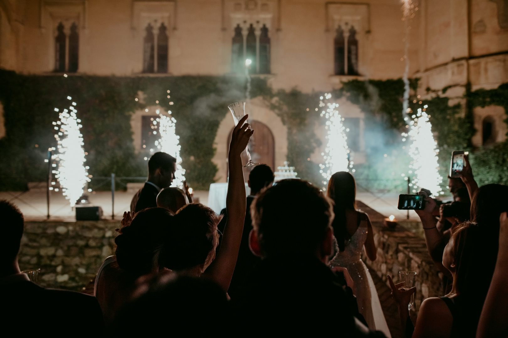 Fireworks wedding reception at Castell de Sant Marcal